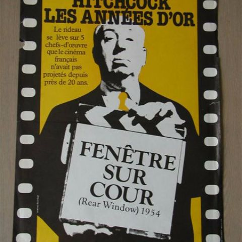 'Hitchock les anees d'or - Fenetre sur cour' (Rear Window) - reissue Belgian affichette