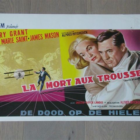 'La mort aux trusses' (North by Northwest) Belgian affichette