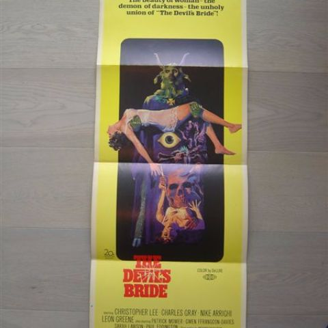 'The devil's bride' (director Terence Fisher-C.Lee) 1968 U.S. door poster