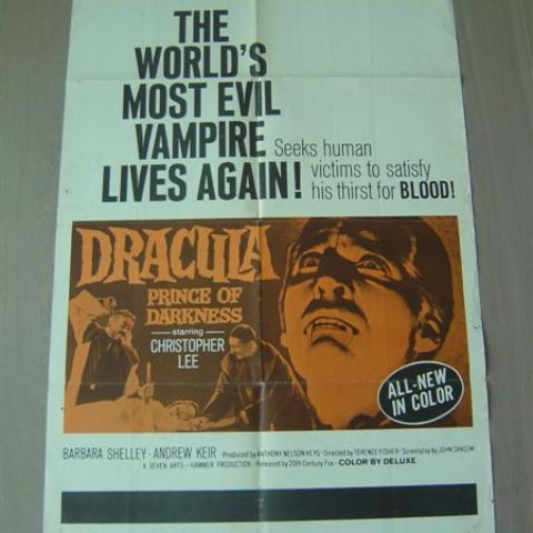 'Dracula, prince of darkness' 1966 U.S. one-sheet