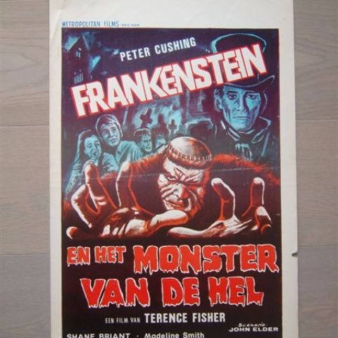 ''Frankenstein en het monster van de hel' (Frankenstein and the monster from hell) (director Terence Fisher) Belgian affichette